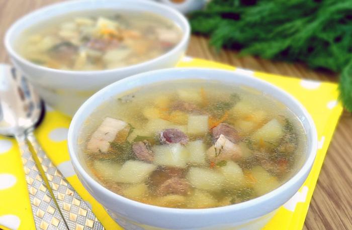 суп с куриными сердесками